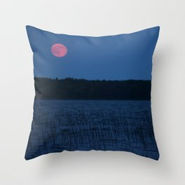 Red Moon Over The Reeds Throw Pillow