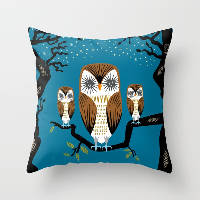 Night Owl Keepers curates Three Lazy Owls Throw Pillow by oliverlake at Society 6