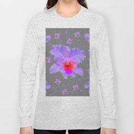 GREY ART TROPICAL LILAC CATTLEYA ORCHID FLOWERS Long Sleeve T-shirt