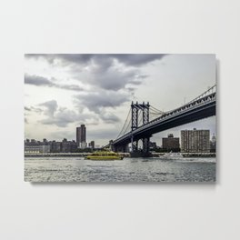 New York water taxi and the Manhattan Bridge Metal Print
