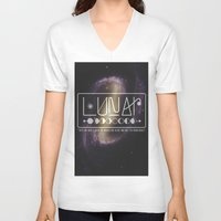 lunar V-neck T-shirts featuring Lunar by Nate Compton