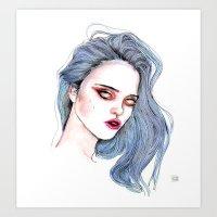 sky ferreira Art Prints featuring Sky Ferreira /  Blue  by Lucas David