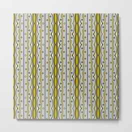 Retro mod pattern in yellow and gray Metal Print