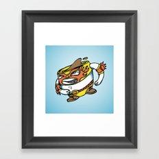 The flying luchador mug of coffee Framed Art Print