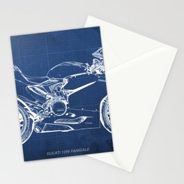 Blueprint, Superbike 1299 Panigale, 2015,brown background, gift for men, classic bike Stationery Cards