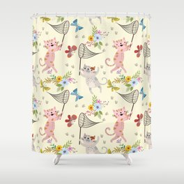 Cute Cat catching butterflies with flowers pattern Shower Curtain