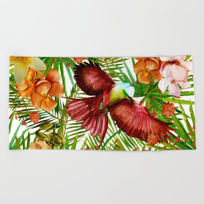 Aloha- Tropical Jungle Bird, Butterfly and Flowers Garden Beach Towel