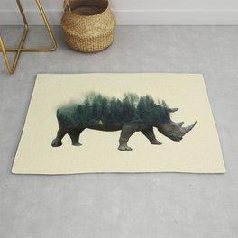 Rhino and forest digital Art Photo Manipulation, double exposure Rug