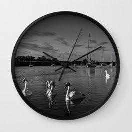 Summer evening swans Wall Clock