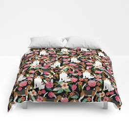 Beagle floral dog breed pattern pet gifts for beagle owners must have beagles Comforters