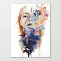 smoke Canvas Prints featuring this thing called art is really dangerous by agnes-cecile