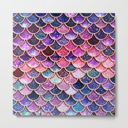 Pink & Purple Trendy Glitter Mermaid Scales Metal Print