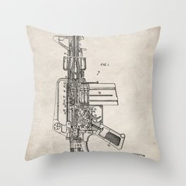 M16 Rifle Patent - Military Rifle Art - Antique Throw Pillow