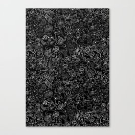 Crazy monsters in a crowded pattern Canvas Print