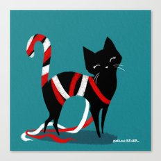 Kitty Candy Cane Canvas Print