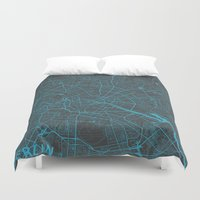 berlin Duvet Covers featuring Berlin by Map Map Maps