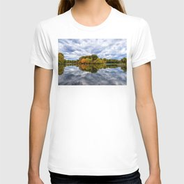 Stormy Autumn Reflections on Pond Rural Landscape Photograph T-shirt