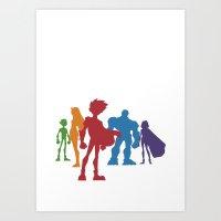 teen titans Art Prints featuring [ Teen Titans ] Robin, Starfire, Raven, Beast Boy and Cyborg by Vyles