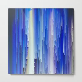 Frozen blue waterfall abstract digital painting Metal Print