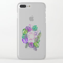 Tropical Spring Flower Water Colour Painting Clear iPhone Case