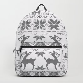Christmas black and white, the embroidered pattern. Backpack