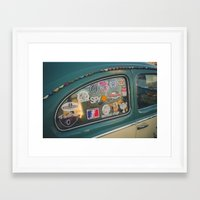 stickers Framed Art Prints featuring Rear window stickers by Felix Padrosa Photography