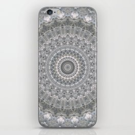 Mandala in white, grey and silver tones iPhone Skin