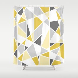Geometric Pattern in yellow and gray Shower Curtain