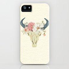 Bull skull floral tribal watercolor iPhone SE Slim Case