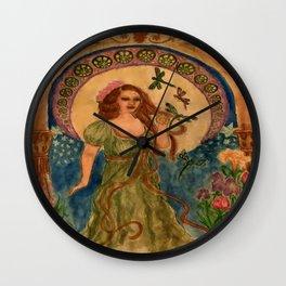 Nouveau Dragonflies Wall Clock