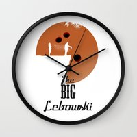 the big lebowski Wall Clocks featuring The Big Lebowski by Green Tusk