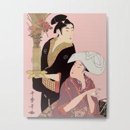 Utumaro Rice Balls & Flowers Metal Print