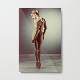 Beautiful nude woman posing in ballet look Metal Print