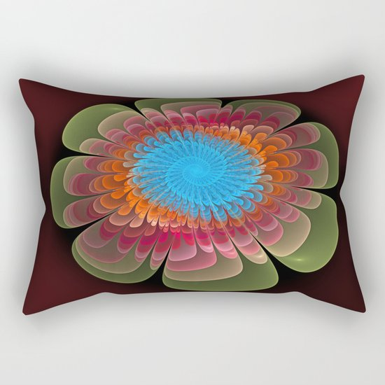 Colourful fantasy flower with a spiral heart Rectangular Pillow