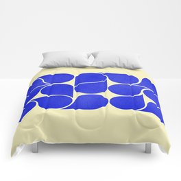 Blue mid-century shapes no8 Comforters