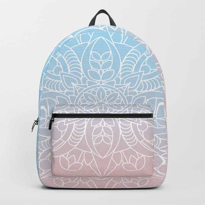 Pastel Dreams Mandala on Blue and Pink Linen Backpack