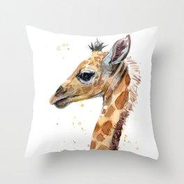 Giraffe Watercolor Cute Baby Animals Throw Pillow