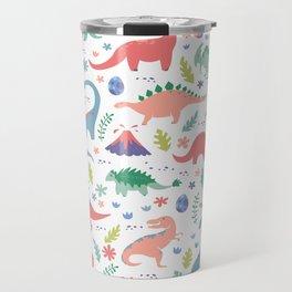 Dinos + Volcanoes - Coral Travel Mug