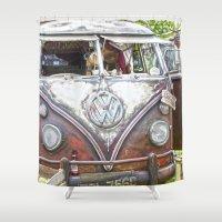 volkswagen Shower Curtains featuring Surf shark Volkswagen Hippie Bus by Premium