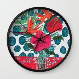 Tropical Bouquet in Living Coral and Emerald Green Wall Clock