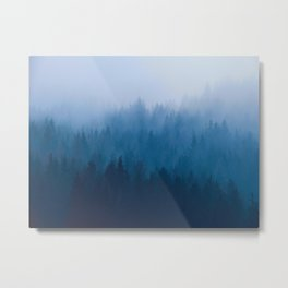 Watercolor Effect Colorful Blue Ombre Misty Pine Forest Metal Print