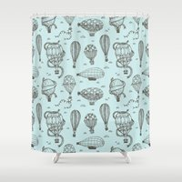 hot air balloons Shower Curtains featuring Hot Air Balloons by PatternInk