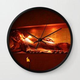 golden buddha, reclining Wall Clock
