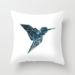 Geometric Hummingbird, Blue Hummingbird Art Throw Pillow