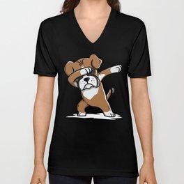 Funny Boxer Dog Dabbing Unisex V-Neck