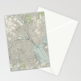 Vintage Map of Providence Rhode Island (1901) Stationery Cards
