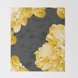 Yellow Flowers On A Dark Background #decor #society #homedecor Throw Blanket