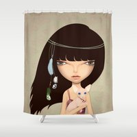 boho Shower Curtains featuring boho by Anne  Martwijit