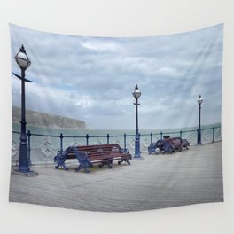 Lamps And Benches On Swanage Pier Wall Tapestry