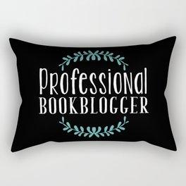 Professional Bookblogger - Black w Blue Rectangular Pillow